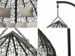 Double Rattan Swing Patio Garden Weave Hanging Egg Chair Cocoon Orta Grey