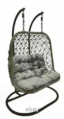 Extra large Double Grey Hanging Egg Chair With Cushion Rattan Style New 2021