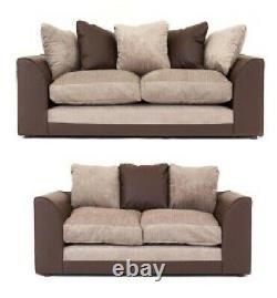 Fabric Sofa 3 2 Seater Black Grey Brown Beige Cushion Swivel Armchair Cosy Chair