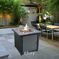 Fire Pit Table Concrete Top Set with4 High Back Chairs, Ottomans, Cushions & Cover