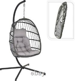 Foldable Hanging Swing Moon Egg Chair With Stand & Cushion Grey