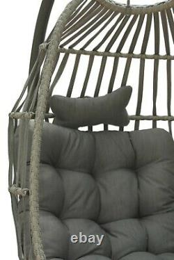 Folding Luxury Rattan Swing Seat, Hammock, Hanging Chair Grey cushion & stand