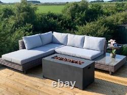 GSD Corner Fire Pit Sofa Sunlounger Rattan Wicker Garden Set 5 Year Warranty