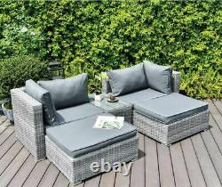 GSD Enzo Rattan Garden Furniture Sofa Lounge 5 Piece Set In or Outdoor