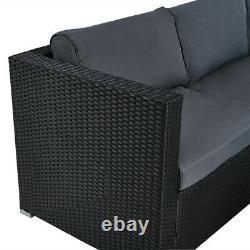 Garden 6 Pieces Rattan Furniture Set Corner Sofa Table Chair with Cushion