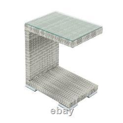 Garden Day Bed Grey Rattan Sofa 3 Seater 2 Chairs Table Sun Shade Furniture