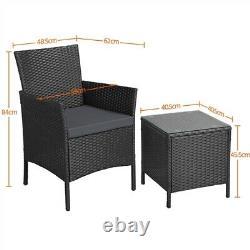 Garden Furniture Sets 3 Piece Rattan Bistro Set Weaving Wicker Chairs with Cushion
