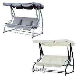 Garden Swing Chair Cushioned 3 Seaters Patio Hammock Bed Canopy 2 Colors