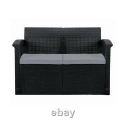 Graphite 2-Seater Rattan Effect Sofa & Cushion Outdoor Garden Patio Furniture