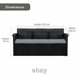 Graphite 3-Seater Rattan Effect Sofa & Cushion Outdoor Garden Patio Furniture