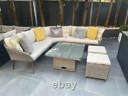 Grey Corner Rattan Garden Furniture Casual Dining Set READ DESCRIPTION