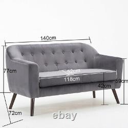 Grey Fabric Velvet Sofa 2 Seater Tub Chair Love Seat Cushioned Two-Person Settee
