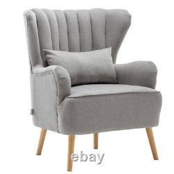 Grey Linen Fabric Armchair Shell Back Reading Sofa Cushioned Chairs with Footstool