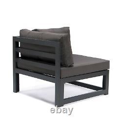 Grey Modular Sofa Set Garden Patio Armchair Outdoors Corner Aluminium