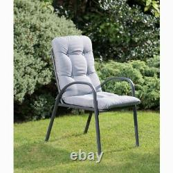 Grey Outdoor Premium Garden Furniture Patio Set with Parasol Chairs & Table 6pc