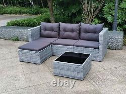 Grey Rattan Garden Furniture Patio Sofa Chair Set Conservatory Alfresco