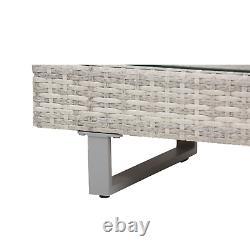 Grey Rattan Patio Furniture Corner Sofa Chairs Garden Set Coffee Table Outdoor