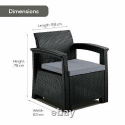 Grey Rattan Style Armchair Lounger Padded Cushion Outdoor Garden Patio Furniture