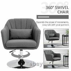HOMCOM Stylish Retro Linen Swivel Tub Chair Steel Frame Cushion Wide Seat Grey