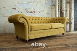 Handmade 3 Seater Grey Velvet Chesterfield Sofa, Reflex Cushion, Other Colours