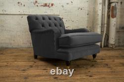Handmade Grey Velvet Chesterfield Lounge Chair, Low Design, Reflex Cushion