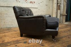 Handmade Vintage Black Leather Chesterfield Lounge Chair, Charcoal Grey Cushion