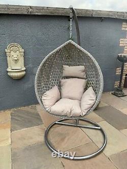 Hanging Egg Chair Grey Indoor Or Outdoor Conservatory Kids Bedroom