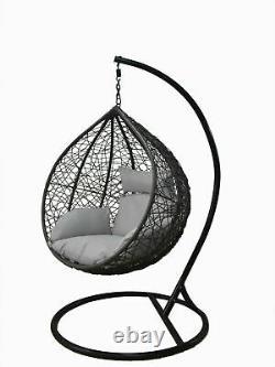 Hanging Egg Chair Swing Hammock Cushion Rattan Wicker Indoor Outdoor Grey
