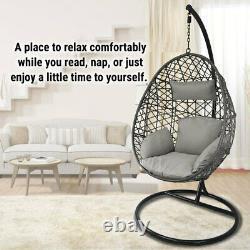 Hanging Egg Chair Swing Hammock Cushion Rattan Wicker Indoor Outdoor Lounge Grey