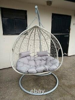 Hanging Egg Chair With Cushion Rattan Style Double Single Grey swing garden