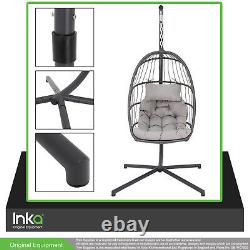 Hanging Folding Egg Cocoon Style Garden Chair Swing Sturdy Steel Frame Grey