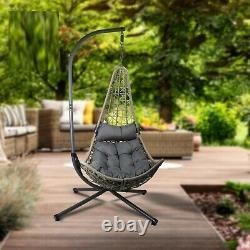 Hanging Rattan Swing Patio Garden Chair Weave Egg With Cushion Indoor Outdoor New