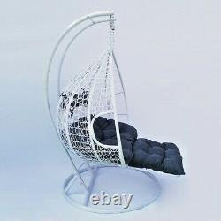 Hanging Rattan Swing Patio Garden Chair Weave Egg w Cushions Footrest Rain Cover