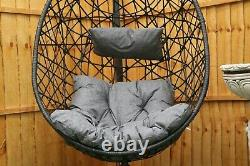 Hanging Rattan Swing Patio Garden Chair Weave Egg with Cushion In Outdoor