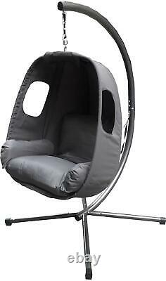 Hanging Swing Egg Armchair Seat Grey Fabric Cushion Cocoon Chair Conservatory