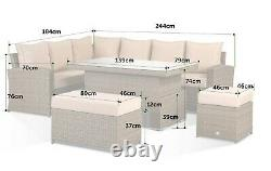 Harmony Corner Sofa with Rising Table, Bench and Stool Grey Rattan 10 seater