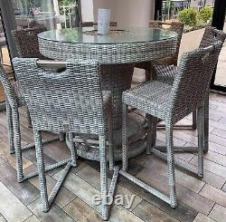 Hercules grey rattan bar set with 6 chairs and padded cushions / ice bucket