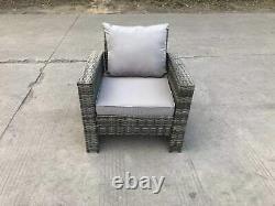 High Back Rattan Arm Chair Patio Furniture With Cushion