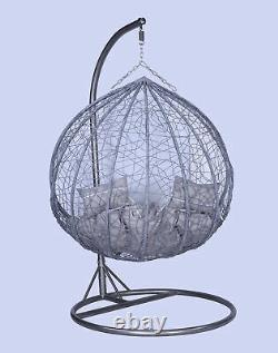 Huge Sale High Quality Double 2 Seater Rattan Hanging Egg Chair with FREE Cover