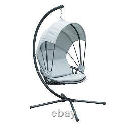 Jarder Luna Egg Chair Hanging Swing Seat Patio Garden Outdoor Light Grey