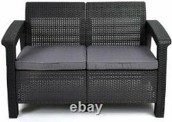 Keter Corfu Lounge Set Outdoor 4 Seater Rattan Garden Furniture Table Chairs Set