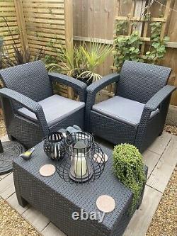 Keter Corfu Set Garden Furniture Set Sofa, 2 Chairs, Table, Grey, Cushions Inc