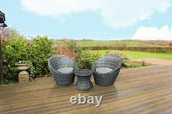 Kingfisher Bistro Egg Vase 3pc Table and 2 Chairs Rattan Effect Set Garden Stack