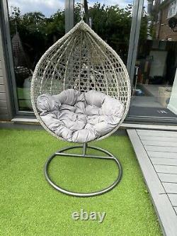 LUXURY Rattan Swing Patio Garden Egg Chair & Cushion GREY in stock now