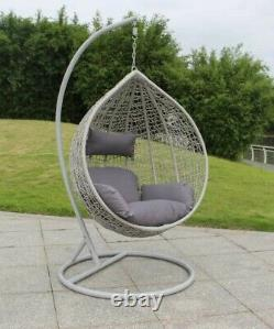 Large Hanging Rattan Swing Patio Garden Egg Chair with Cushion. Grey