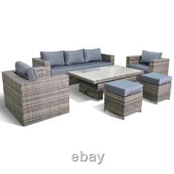 Layla Grey Garden Rattan Furniture Sofa With Rising Table Armchairs Stools Set
