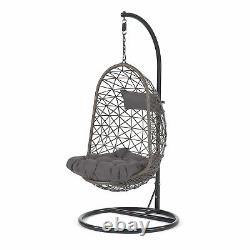 Luton Single Hanging Rattan Swing Egg Garden Patio Chair with Cushions