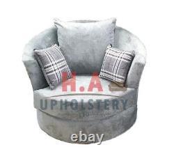 Luxury Verona Swivel Chair Grey 1 STR SOFA Matching Sofa's Also In Stock