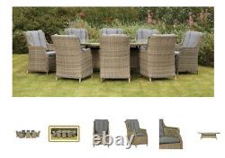 Luxury high-back eight seater oval garden furniture set (May /June Delivery)