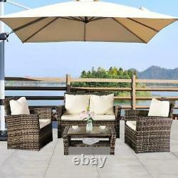 Mix Grey Rattan Wicker Patio Garden Furniture Set 4 Seat Sofa Set Armchair UK